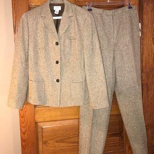 Ann Taylor LOFT Suit wool silk 6 Herringbone